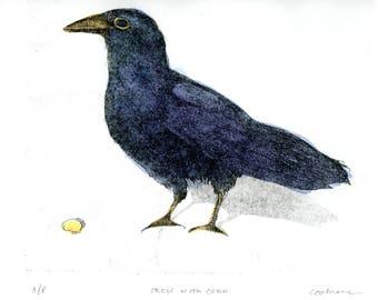 Crow With Corn