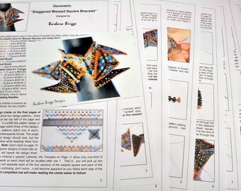 "Tutorial for the Geometric ""Staggered Warped Square Bracelet"" (inspired by www.ContemporaryGeometricBeadwork.com)"
