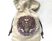 CuStoM OrDeR for Sarah - MYSTIC OWL - Embroidered Drawstring Bag for Tarot Cards, Runes, Dice - LARP Costume Accessory