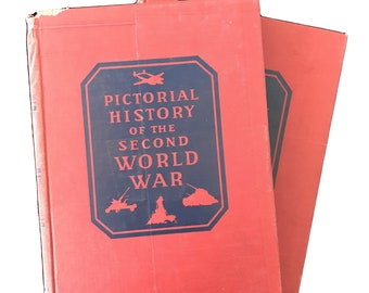 Pictorial History of The Second World War 2 volumes,World War 2,pictorial history,history buff, historian,gift for historian,collectible