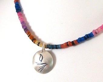 SALE CIJ2017 Bright Heishi Bead Necklace with UU Chalice Pendant