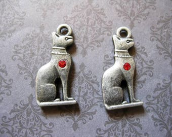 19 Egyptian Cat Charms in DARK Silver Tone - C2594