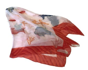 Vtg Bulgari Bvlgari silk OCEANIC scarf, whimsical fish and coral on a slightly mottled white background, red border