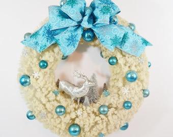 Vintage White Bottle Brush Wreath Snow Flocked Aqua Turquoise Silver Blue Snowflakes Reindeer Trees Chistmas Wall Door Decoration