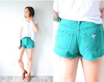 30% OFF SALE Vintage dark green guess shorts // high waisted cut off jean shorts // distressed cut off shorts // daisy duke shorts // GUESS