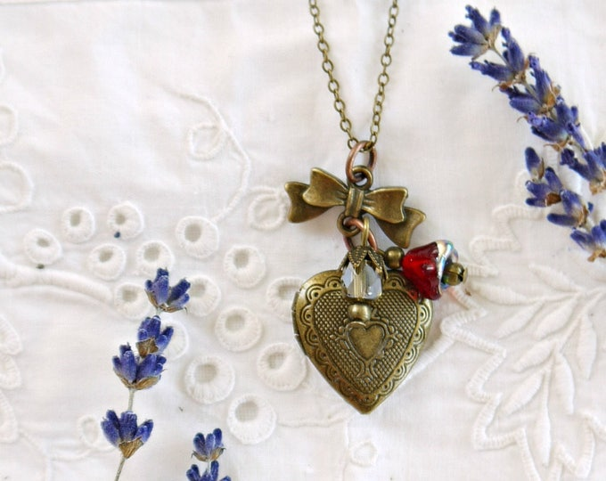 Antiqued bronze heart photo locket necklace with red and green czech glass charms and a little bow, victorian style brass heart locket