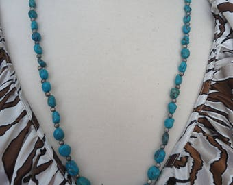 "Vintage Turquoise Necklace, Polished Pebbles w/ Silver Tone Accent Beads, 28"" Long, Southwestern Jewelry, Gemstone Necklace"
