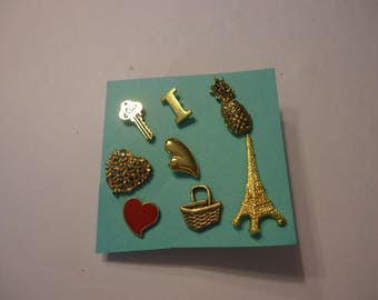 Lot of Mixed Vintage Tac Pins, 8 Pieces, Various Themes, Gold Tone