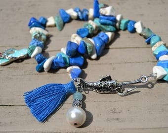 Blue Turquoise White Magnesite Bracelets Set of Two Flip Flop Pearl and Blue Tassel Charms