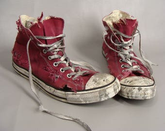 DISTRESSED ZOMBIE SHOES. Red Converse High Tops. Zombie Chucks. Zombie Halloween Costume. The Walking Dead Shoes. usa Size Mens 13 Womens 15