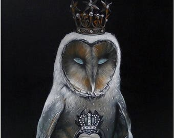 On Sale Owl Print, illustration, Owl Art Print, cabinet of curiosities, woodland Bird Painting, Wall Decor, Wall hanging, Wall Art gift