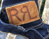 Lovely Japanese selvedge denim dark indigo blue jeans - USA made by RRL Ralph Lauren - 32 30