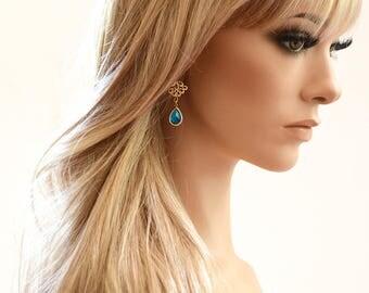 Gold Boho Earrings Gold Earrings Blue Dangle Earrings Bridal Earrings Wedding Earrings Boho Bride Bohemian Chandelier Earrings Gift for Her