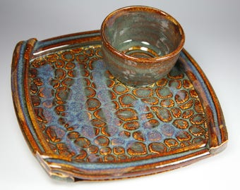 Ready to ship, brown and blue sushi plate, shrimp cocktail plate, personal size chip and dip, item #sushi83