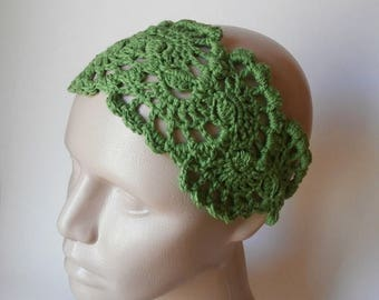 15% ON SALE Crochet Lace Head Band- Crochet Headband- Hair Fashion Accessories - Crochet Hair Band in Grass Green