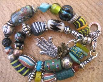 15%off AFRICAN TRADE BEADS bracelet bold boho rustic bracelet