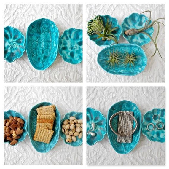 Small bowl set, teal dishes, organic shapes, snack bowls, air plant holders, jewelry dish, ring dish, ring bowl, jewelry storage, soap dish