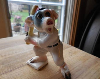 Vintage 1930s to 1950s Porcelain Pig in Baseball Outfit Holding Bat Made in Japan Figurine Retro Sport Swine Comical