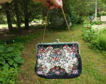 Vintage 1950s to 1970s Black Tapestry Flowers Gold Tone Handle/Chain Not Perfect Pink/Orange/Red Retro Small Clutch/Handbag/Purse Kiss Lock