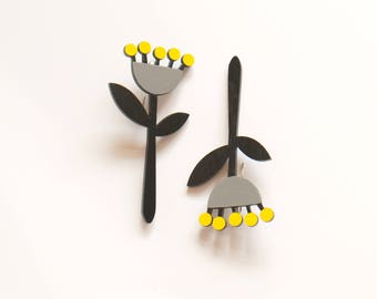 Black grey yellow Long Plywood floral earrings