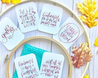 Fall Inspired Set 2 - Encouragement Cards, Bible Journaling, Planner Card, Gift Tags, Thanks Giving, Pumpkin, Give Thanks, Gather, Grateful