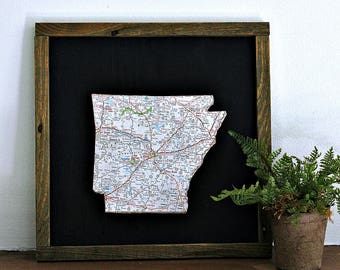 ARKANSAS State Map Wall Decor | Framed Wall Decor | Perfect Gift for Any Occasion | Gallery Wall Decor | Mini Size Map