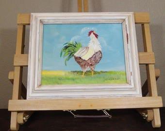 Rooster painting, farm animal,original painting,Nursery art, farm kitchen décor,  Black & White Rooster, Original painting, Acrylic Painting