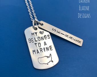 My Heart Belongs to a Marine- Custom Name Tag- Hand Stamped Dog Tag Necklace
