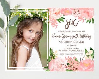 Photo birthday Invitation, pink water color Flowers Invitation,  girls  Birthday Invitation,  Digital Printable