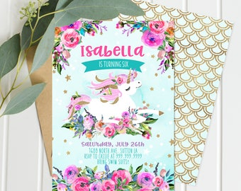 Unicorn Birthday Invitations - Pink purple teal floral - Unicorn Birthday - Digital Download Full Party Collection