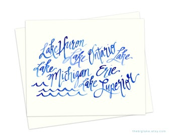 Great Lakes calligraphy card, Great Lakes, Great Lakes stationery, Great Lakes cards, Great Lakes Watercolor, Modern Calligraphy Card, Lakes