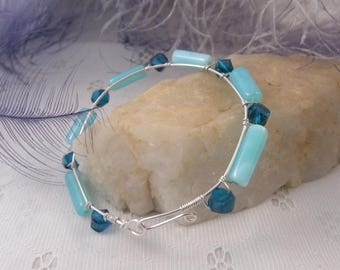 Blue Peruvian Bracelet with Sterling Silver Wire