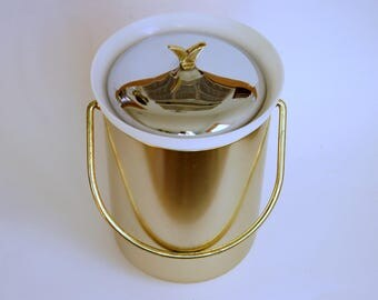 Kromex Ice Bucket, Mid Century Barware, Vintage Ice Bucket, Gold Spun Aluminum, Chrome Lid, New Years Eve