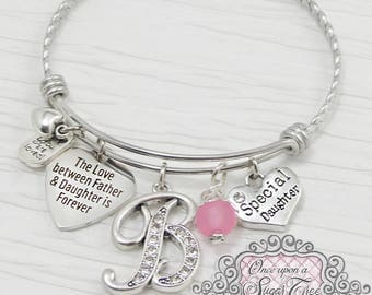 Daughter Bracelet from Dad, The love between Father and daughter is forever- Father Daugher Jewelry, Gift, Personalized Bangle Bracelet