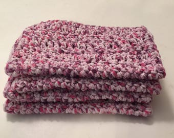 4 Large dish cloths made with 100% cotton yarn in the color Fruity Speckle