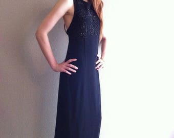 SALE Long black wool dress with beaded accents- SALE