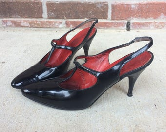 vtg 50s black PATENT LEATHER T-strap Kitten Heels 6.5 sleek Neiman Marcus pumps madmen bombshell shoes