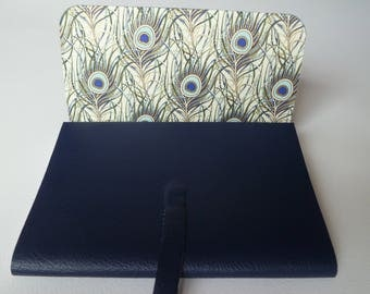Leather Journal Leather Book. Navy Blue Grained Leather lined with a Beautiful Peacock Feathers Decorative paper Highlighted in Gold.