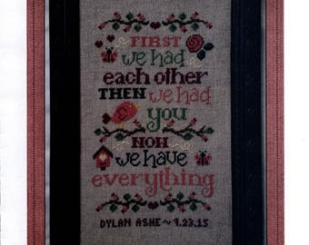 Cherry Hill Stitchery: Now We Have Everything Birth Sampler - Cross Stitch Pattern