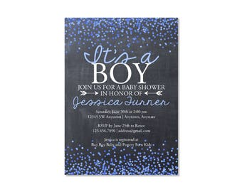 Chalkboard Confetti Boy Baby Shower Invitation