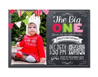 Christmas First Birthday Invitation