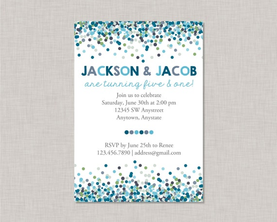 Sibling birthday invitationconfetti birthday invitationsibling il570xn filmwisefo