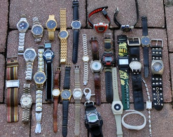 26 Watches, Lot of Watches, Guess, Star Wars, No Boundaries, Quick Silver, Bum, Time Star, Pulsar, Genevex, Anne Klein, Jonali, Denacci