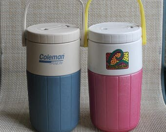 Qty 2 Coleman Drink Thermos, Vintage Drink Coolers, His and Hers, Pitcher, FREE Domestic Shipping