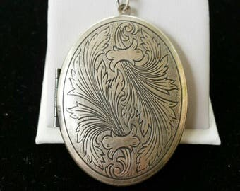Vintage Engraved Sterling Locket Large Photo Locket