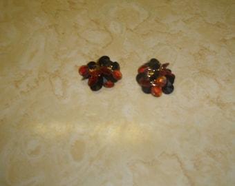 vintage clip on earrings amber black lucite dangles