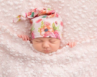 PINK DOT FLORAL: Name hat, newborn hat, baby hat, hospital hat, birth announcement, newborn photo prop, girl hat