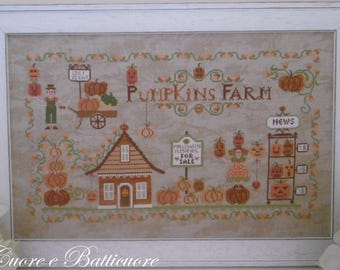 PDF Pumpkins Farm cross stitch patterns Cuore e Batticuore e-pattern at thecottageneedle.com holidays Halloween harvest October