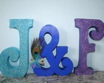 Peacock wedding, Peacock centerpiece, Peacock decor, Peacock sign, Mr and Mrs wedding sign, Wood wedding letters, Bride and groom, Wood sign