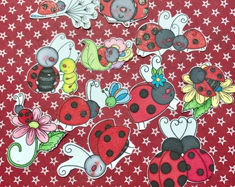 Lady bugs2 11 large planner decorative stickers will fit most planners